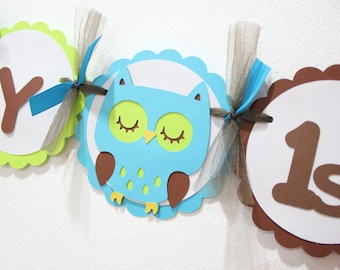 Owl Happy Birthday banner