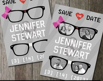 Geek Wedding Save the Date Invitation, Geek glasses with bows and hearts, Printable Save the Date Card, DIY Printable Invite hipster