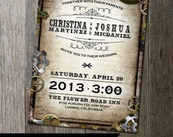 Steampunk Wedding Invitation with multiple gears on distressed parchment paper faux background. Digital Printable