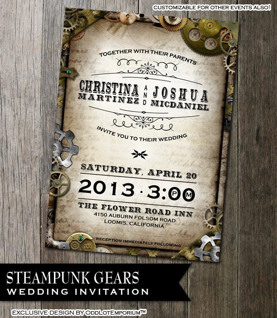 Steampunk Wedding Invitation with Multiple Gears
