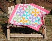 Quilt Throw Spring Colors Pinwheel Quilt Pink Aqua Green Purple and White Throw or Baby Quilt