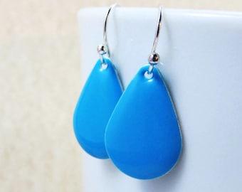 Dangle Drop Earrings - Turquoise Blue Epoxy Enamel Teardrops - Sterling Silver Plated over Brass (F-5)