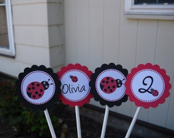 Lady Bug Cupcake Toppers - Set Of 12