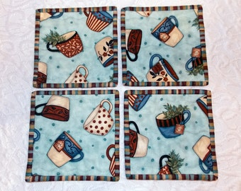 Quilted Coasters -  Coffee - Tea - Set of Four - Teal - Brown