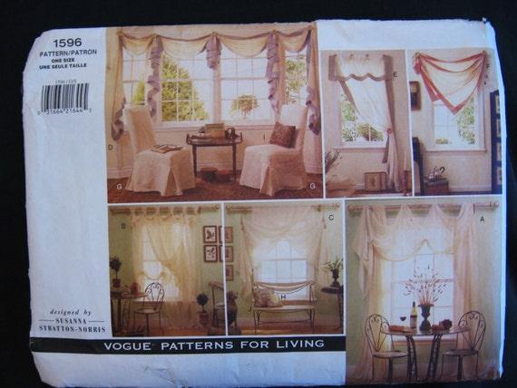 Vogue home decor pattern 1596 uncut window treatments by for Professional window treatment patterns