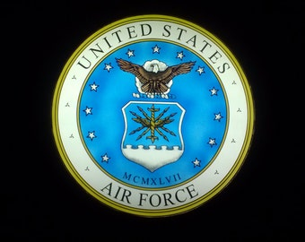 US Air Force HAND-PAlNTED STAlNED glass medallion SALE