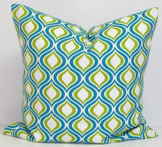 Blue Throw Pillow 20x20 : Turquoise BLUE OUTDOOR PILLOW.20x20 by ElemenOPillows on Etsy