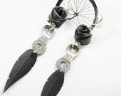 Rose Pedals Earrings - Eco Friendly - Recycled Jewelry - handmade - bike chain- bicycle - black