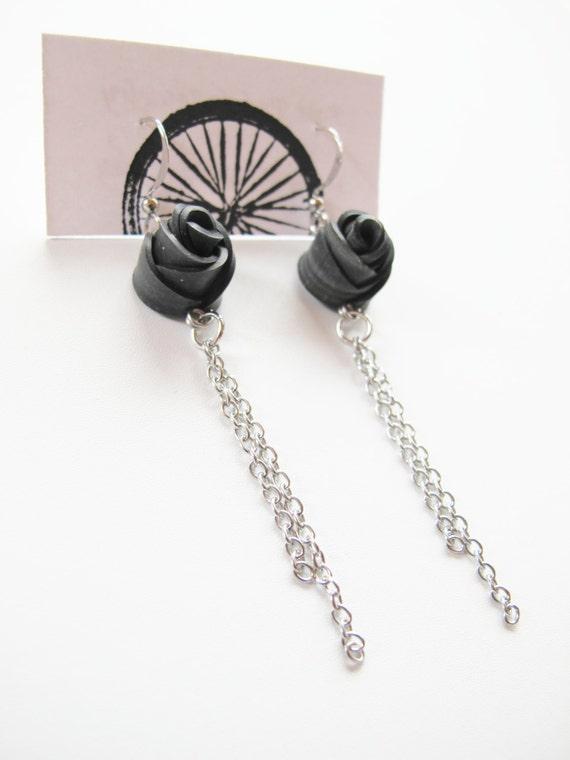 Black Rose Chain Earrings - Recycled Jewelry - handmade - rose earrings - bike - bicycle - innertubes
