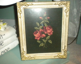 SALE.....Stunning French Provincial Framed Needlepoint Roses, Shabby Chic, French, French Country,Eclectic