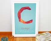 Copenhagen city poster, Nursery art print from Denmark, Scandinavian kitchen decoration, Alphabet poster, Typography A3 print