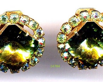 DeLizza & Elster aka Juliana Green Square Rivoli Clip Earrings   Item No: 14704