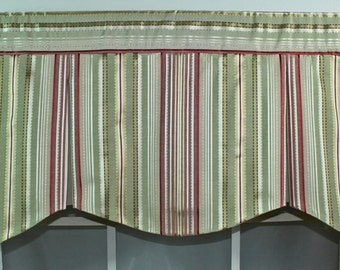 Shaped pleated ribbon stripe valance in pink or blue