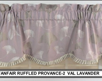 Fanfair ruffled provance valance in lavender, parchment and spa blue