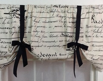 French script tie up valance in black or navy