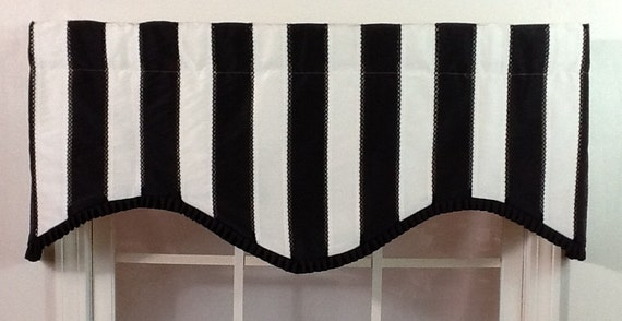 Black And White Striped Shaped Valance With Black By