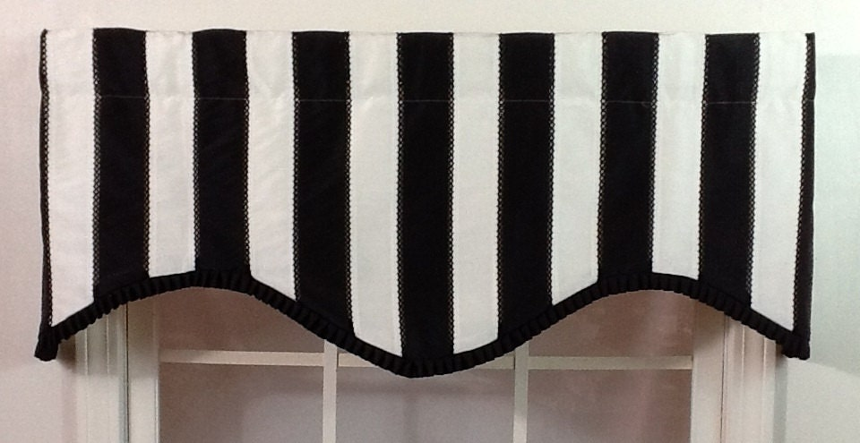 Black And White Striped Shaped Valance With Black Pleated