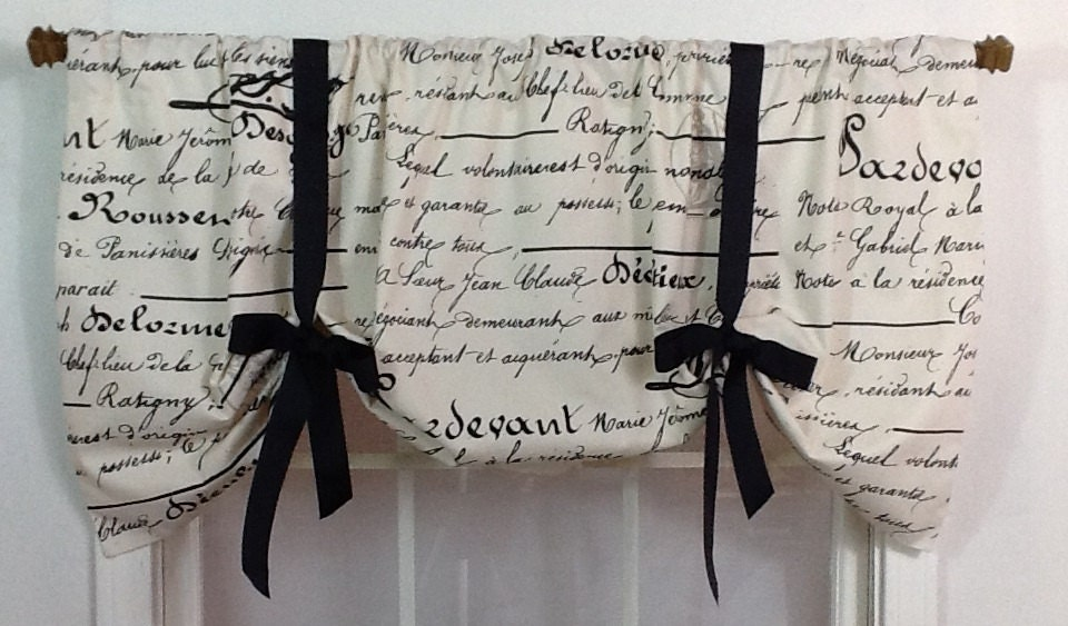 French Script Tie Up Valance In Black