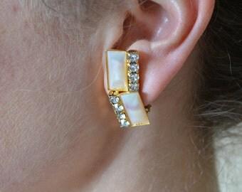 Peach Shell Earrings Rectangle Earrings Rhinestone and Shell Earrings Rectangles Clips 1950's Mod Geometric Clip Earrings