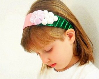Headband pink green Fabric flower rosettes Satin and velvet ribbon - ready to ship