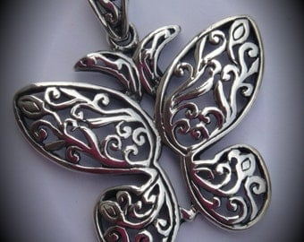 Genuine Sterling Silver Flourish Butterfly Pendant