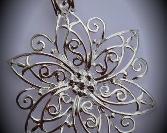 Large Silver Plated Flower Pendant