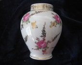 RESERVE FOR PAULA :Pretty German Dresden China Vase with Roses and Gold Trim  3 1/2 inches tall
