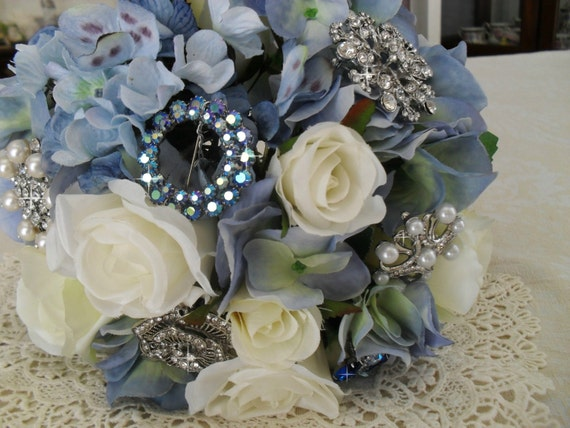 Wedding Brooch Bouquet Blue Hydrangea Vintage and New Jewelry For Bride or Wedding Decor