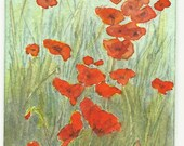 ACEO - Poppies in the Field I - Original Watercolour Painting