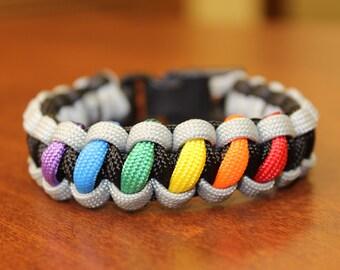 LGBT PRIDE themed Rainbow Black/Grey/Colors Paracord Bracelets