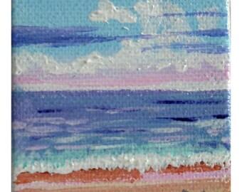 Toward Sunset tiny acrylic painting  2 x 3 canvas
