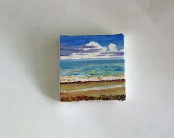 Shimmer  2x2 acrylic beach painting free shipping