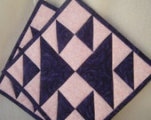 Purple & Pink Quilted Potholders - Set of 2