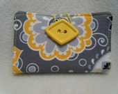Gray and Yellow Business Card/Gift Card Case - HANDMADE BY ME