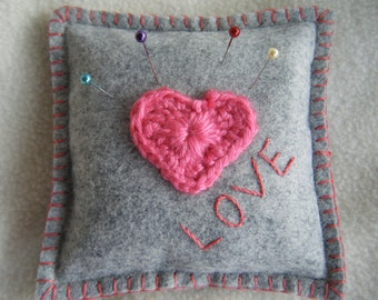 ON SALE Gray Felt Pincushion With Heart Applique