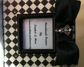 Black and White Tile with Black Bow Decorative Picture Frame