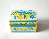 Vintage metal box with Springtime floral pattern, yellow, blue, green flowers, Easter decor, flower bouqet pattern.