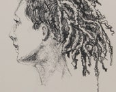 "Life Drawing Figure Study Female portrait Dreadlocks 6 X4"" Matted 10X8"" No.81"