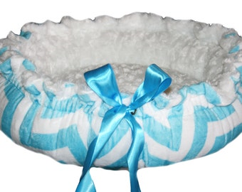 Chevron Aqua Blue and White Minky Couture Pet Bed Size Xlarge