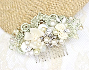 Mint Bridal Hair Comb- Bridal Hairpiece- Mint Hair Clip- Pearl Bridal Comb- Vintage Inspired Comb- Mint Hair Accessories- Lace Hairpiece