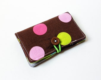 Brown Splendid Polka Dots Fabric Business Card Holder, with Wavy Splendid Stripes - Credit Card Holder, Cloth Card Holder, Gift Card Holder