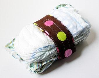 Brown Diaper Strap - Brown Splendid Polka Dot