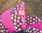 Owl pink daisy flower baby car seat cover infant seat cover slip cover Graco fit