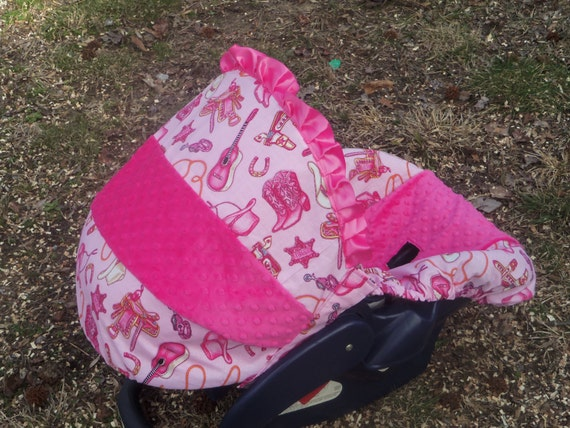 Baby Girl Infant Car Seats: Items Similar To Pink CowGirl Baby Car Seat Cover Infant