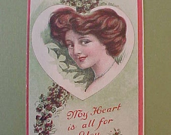 """Lovely 1910 Era Gibson Girl Style Valentine Postcard:  """"My Heart is All For You"""""""
