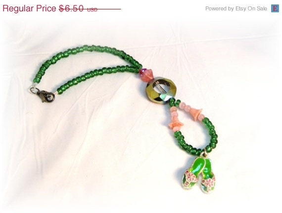 Sale Small Green Flip Flop Rear View Mirror Charm, Iridescent shine
