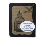 handmade william blake card, inspirational quote card, graduation card, encouragement card, friendship card, birdcage card