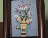 Flowers from the garden, bucket, picture, handpainted