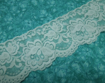 White Stretch lace, 1 yard of 3 inch White Stretch elastic lace for bridal, baby headband, lingerie, garter by MarlenesAttic - Item S2