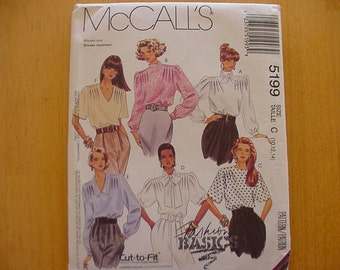 UNCUT McCalls Pattern 5199, Misses' Blouse and Scarf, 6 Variations, Size 10-12-14